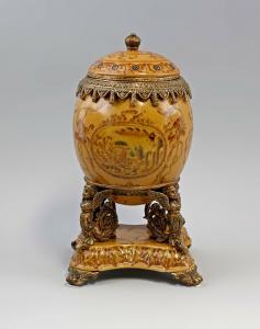 9937113-dss Tafelaufsatz Ei Deckel-Dose Keramik Bronze H28cm