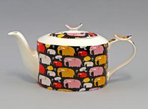 9952486 Tee-Kanne Brillantporzellan Elefant bunt 30x20cm 1,2L
