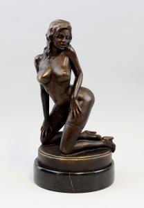 9937280 Bronze Skulptur Figur Akt Kniende Schönheit erotisch 16x32cm