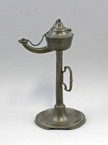 Öl-Lampe Zinn 19. Jh. Handleuchter 99833122