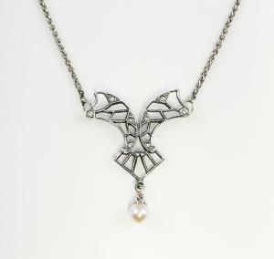925er SILVER Art Nouveau Style Collier With Pearl U. Swarovski-Stones 99010356