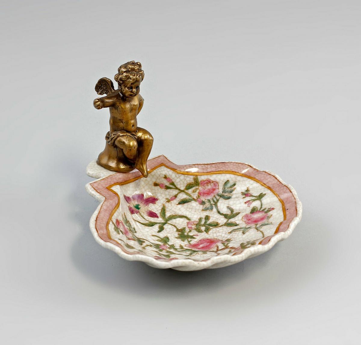 9937900-dss Keramik Messing Muschelschale mit Putto Blumen Jugendstil