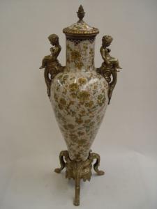 99937875-dss Messing Keramik Deckel-Amphore Vase Putto Historismus prunk H80cm