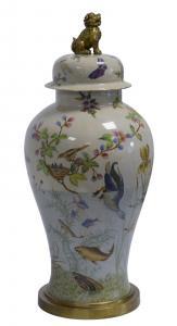 99937801-dss Messing Keramik Amphore Vase Deckel Hund Historismus prunkvoll