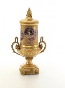 99937860-dss Messing Keramik Deckel Amphore Vase Jugendstil prunkvoll 17x24x44cm