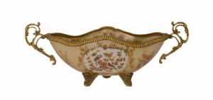99937849-dss Messing Keramik Tafelaufsatz Jardiniere Schale prunkvoll 11x26x10cm
