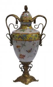 99937810-dss Messing Keramik Deckel Amphore Vase Jugendstil prunkvoll H44cm