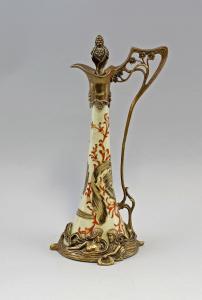 9937328 Bronze Keramik Weinkanne Kanne Karaffe Jugendstil H34cm