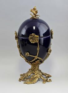 9937857 Dose Ei Deckeldose Bonboniere Keramik/Bronze H38cm