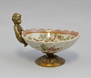 9937886 Bronze/Keramik Schale Seifenschale mit Putto 12x9cm