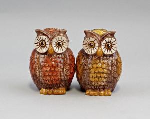 9976070 Paar Streuer Eulen Keramik Eule Figur H9cm