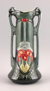 9937130-dss Keramik Jugendstil Vase Floraldekor neuzeitlich