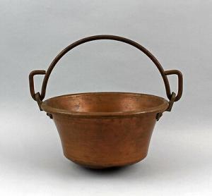 99833066 Henkeltopf Kupfer Bügelhenkel aus Eisen antik