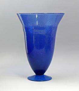 99835185 Blaue große Kratervase Glas