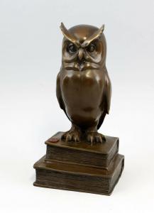9937417-dss Bronze Skulptur Figur Eule der Weisheit auf Buch 11x9x22cm