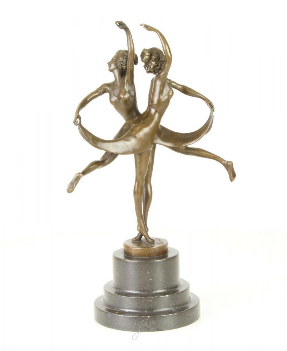 9973320-dss Bronze Figur Varieté Tänzerinnen Schwestern Art Déco 13x24x36cm 1