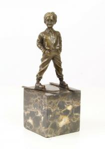 9973458-dss Bronze Skulptur Figur Knabe Junge auf Skiern 13x11x29cm