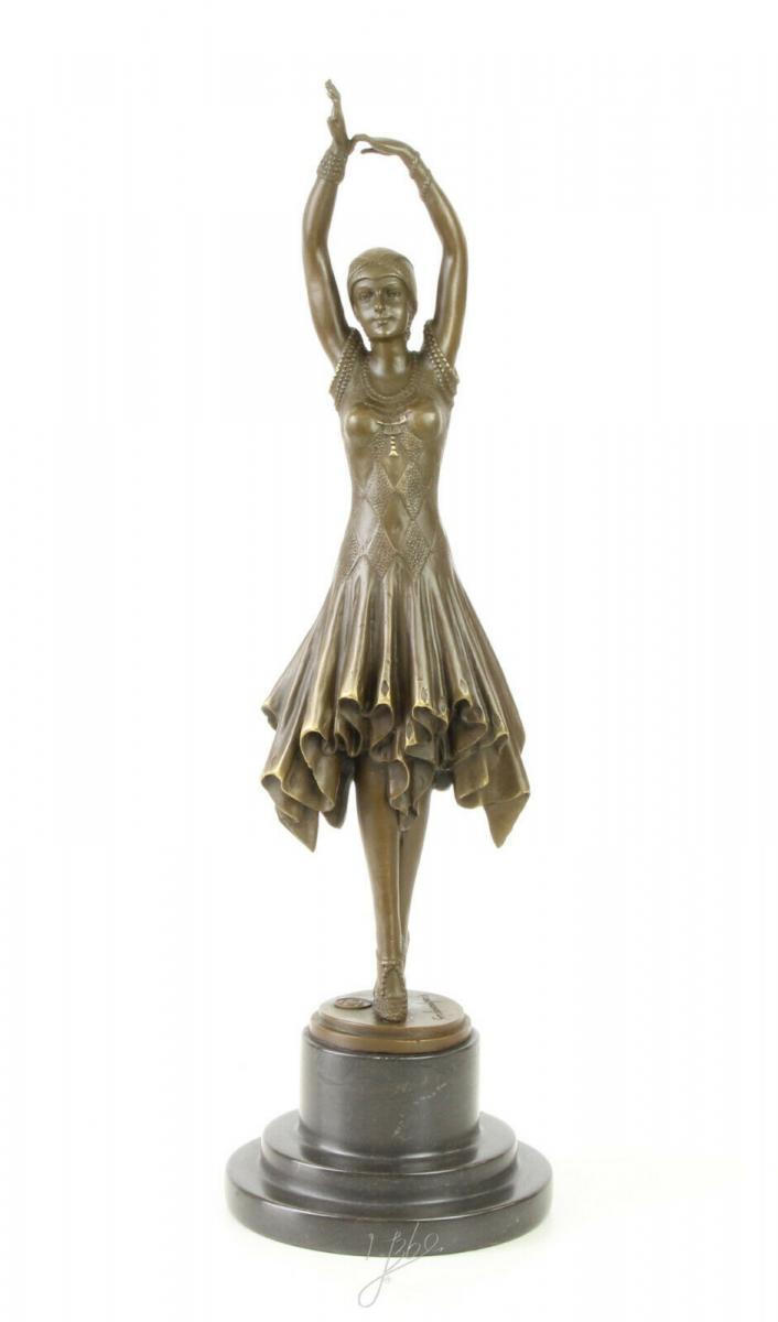 9973313-dss Große Bronze Skulptur Pariser Varieté Tänzerin Art déco 13x13x45cm 0