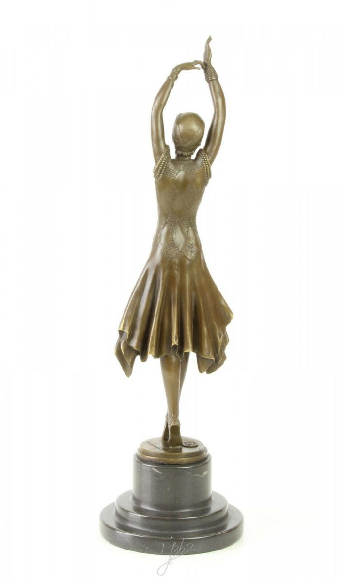 9973313-dss Große Bronze Skulptur Pariser Varieté Tänzerin Art déco 13x13x45cm 1