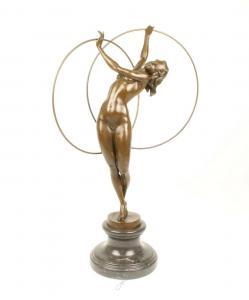 9973302-dss Große Bronze Skulptur Weiblicher Akt Hula Hoop Tänzerin 20x27x69cm