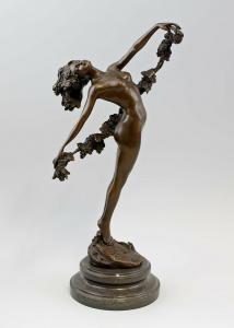 9937936-dss Bronze Skulptur Weiblicher Akt Collinet Allegorie Bacchus Wein H42cm