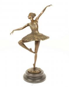 9973592-dss Große Bronze Skulptur Figur Ballett Tänzerin Ballerina 24x15x45cm