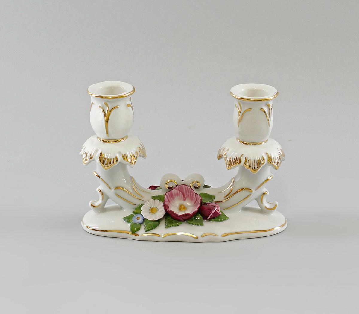 9997351 Zweiarmiger Leuchter mit Blumen Ens Porzellan 15x10cm 0