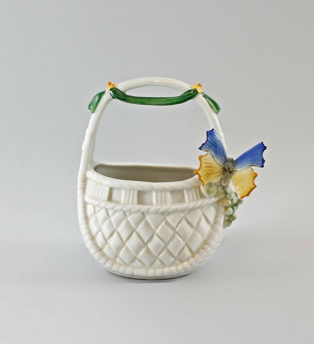 9997304 Porzellan-Korb Schale mit Schmetterling blau Ens H14cm 0