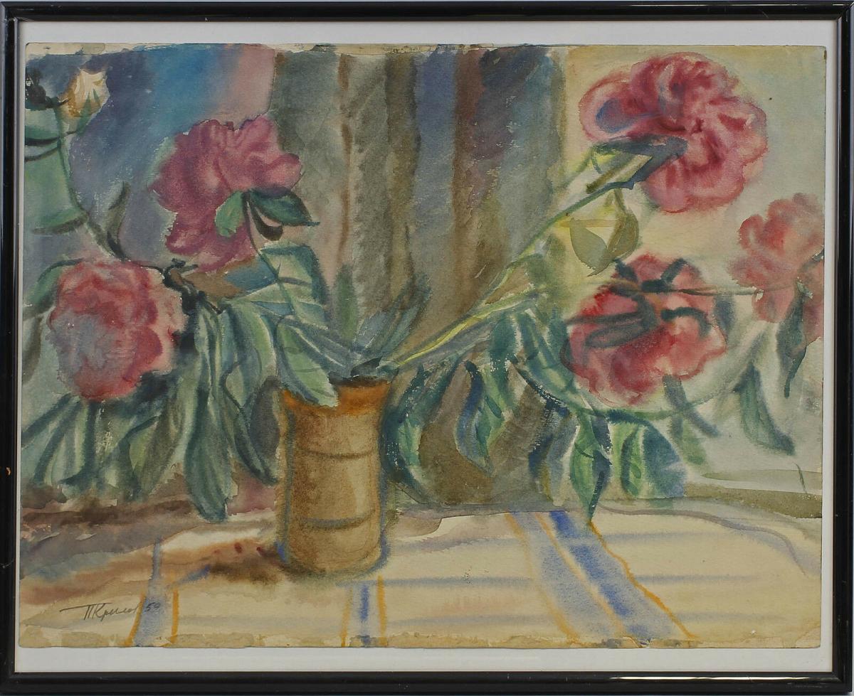 8360080 Krylov, Blumenstilleben, um 1959, Aquarell/Karton 0