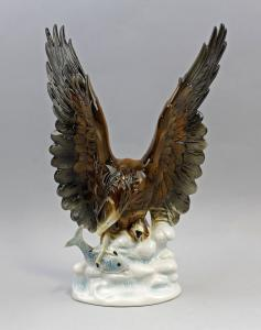 9942494 Porzellan Figur Vogel Seeadler Wagner & Apel H31cm