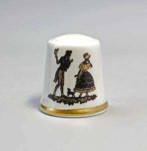 9988250 Kämmer Porzellan Fingerhut Scherenschnitt Rokoko Gold 2,4x2,6cm