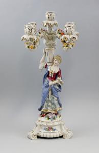 9937392 5-flammiger Prunk-Kandelaber Damen-Figur Goldauflage Porzellan 27x45cm