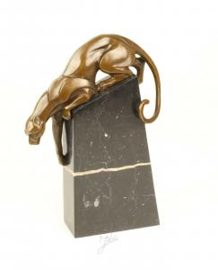 9973594-dss Bronze Figur Skulptur springender Panther Jaguar modern 23x9x34cm
