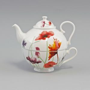 9952324 Porzellan Tee-Set Tea for one Set Mohnwiese Jameson&Tailor 0,6l H14,5cm