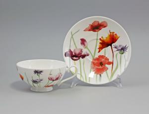 9952304 Porzellan Tee-Tasse + Untertasse Dekor Mohnwiese Jameson&Tailor 18x7cm