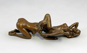 9937830-dss Bronze Skulptur Patoue Liebendes Paar Akt erotisch LGBT 18x10x8cm