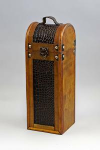 9977070 Weinkoffer Holz/Lederimitat Flaschen-Box