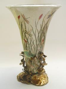 9973569-dss Schale Vase Seerosen floral Keramik/Bronze Jugendstil H47cm