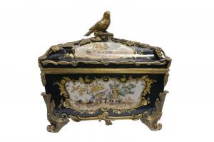 9973571-dss Dose Vogel floral Keramik/Bronze Historismus kobalt 35x37cmcm