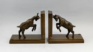 9937643-dss Bronze Figur Skulptur Paar Buchstützen Ziegen Böcke 20x10x18cm