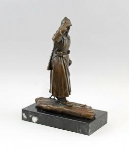 9937973-dss große Bronze Skulptur Figur Soldat auf Ski Rote Armee