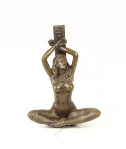 9973246-dsp Bronze Skulptur Mädchen erotischer Akt in Handschellen 14x6x10cm