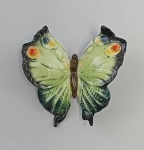 9941797 Porzellan Figur Ens Thüringen Wand-Schmetterling grün 11x11cm