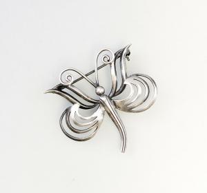 9926645 Silber geprüft Brosche Schmetterling alt 4x4cm