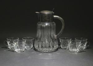 8430043 Kalte Ente Eis-Karaffe versilberte Montierung + 6 Kristall-Becher Peill