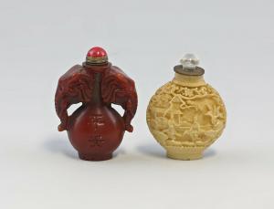 8339033 2 Stück Snuffbottles Riechfläschen Flakon wohl China Jade