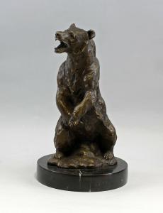 9937741-dss Bronze-Plastik Skulptur Grizzly-Bär Braunbär sign. Barye 20x36,5cm