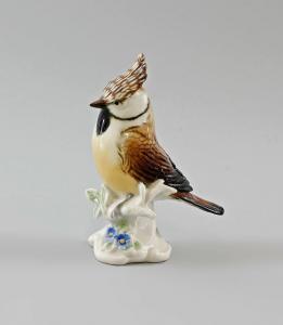9997603 Porzellan Figur Ens Vogel Haubenmeise Meise H11cm