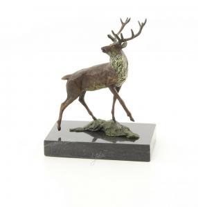 9973489-dss Bronze Skulptur Figur Rothirsch Hirsch 15x7x13cm