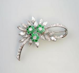 8525052 750er Gold florale Smaragd-Diamant-Blüten-Brosche